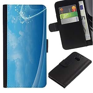 For HTC One M8,S-type® Calm Sky Soothing Clouds Sparkle Sparkly - Dibujo PU billetera de cuero Funda Case Caso de la piel de la bolsa protectora