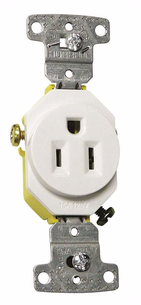 HUBBELL WIRING GIDDS-606186 RR151W Electrical Receptacle, Outlet White