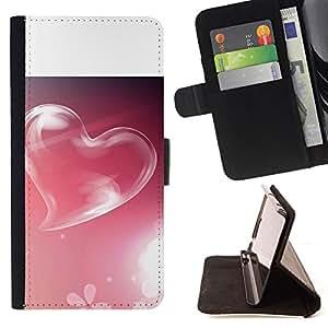 For Samsung Galaxy Note 3 III - Pink Heart /Funda de piel cubierta de la carpeta Foilo con cierre magn???¡¯????tico/ - Super Marley Shop -