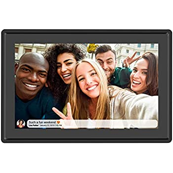 ACEMAX 10.1 Inch 16GB Smart WiFi Cloud Digital Photo Frame APP Black Android/&iOS Instantly Share Photos Worldwide 1280x800 IPS High Resolution Touch Screen Portrait and Landscape Wall-Mountable