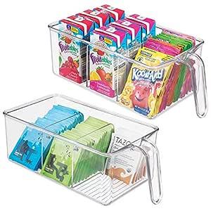 mDesign Juego de 2 cajas de almacenaje de plástico - Para cocina ...