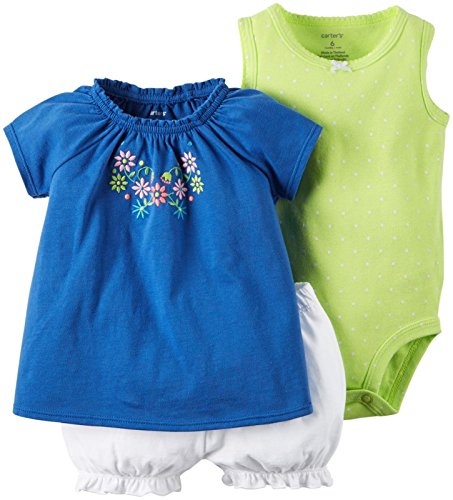 Carter's Baby Girls' Diaper Cover Set Multi Embroidery, Blue, 24 Months