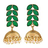 Maayra Designer Leaves Earrings Green White Jhumki Party Jewellery