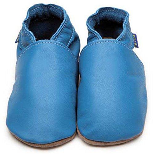 Inch Blue Girls Boys Luxury Leather Soft Sole Pram Shoes–Plain Blue