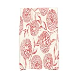 E by design KTFN493OR15OR9 Antique Flowers Floral Print Kitchen Towel, 16'' x 25'', Coral