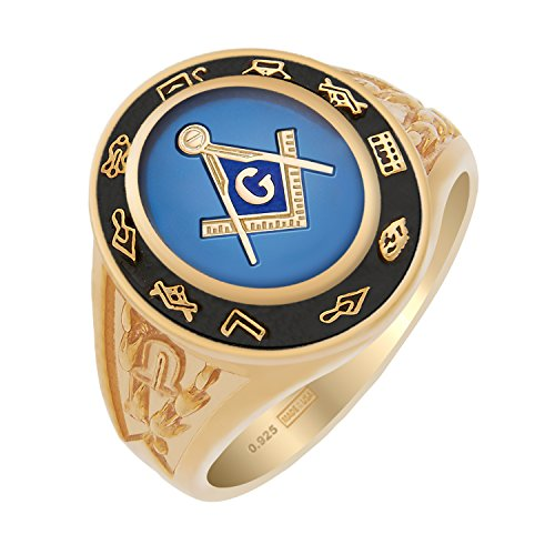 Mens Solid Masonic Back Ring - US Jewels And Gems Men's Customizable Solid Back 0.925 Sterling Silver Gold Vermeil Masonic Ring