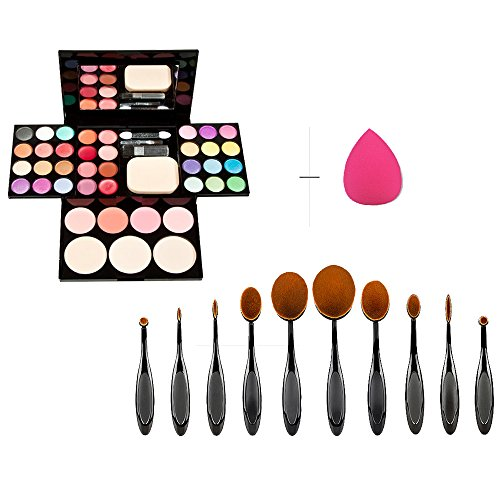 10pcs Nylon Bristle Toothbrush Style Cosmetic Makeup Brush Set Black with Rose Red Waterdrop Sponge Puff +Integrated Eyeshadow Blusher Lipstick Powder Cosmetic Composite Assembly