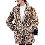 Classical City Women Leopard Faux Fur Coat Long Sleeve Sexy Lapel Overcoat Winter Warm Parka Jacket