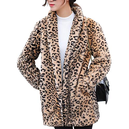- Classical City Women Leopard Faux Fur Coat Long Sleeve Lapel Overcoat Winter Warm Parka Jacket(XL)