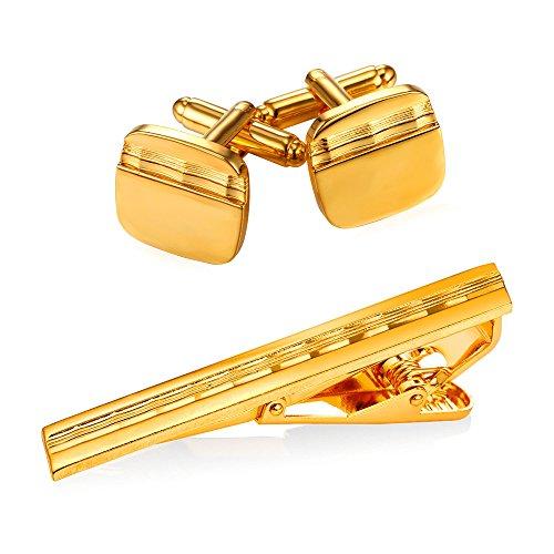 Men 18K Gold Plated Shirt Studs Square Wave Grain Cufflinks & Tie Bar Clip Set,3 Pcs