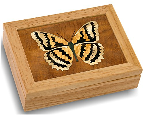 Wood Butterfly Box - Handmade USA - Unmatched Quality - Unique, No Two are the Same - Original Work of Wood Art (#4124 Butterfly 4x5x1.5)