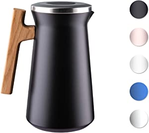 SDREAM 34 Oz Coffee Carafe Thermal For Kettle Stainless Steel Double Walled Vacuum Insulation Hot Beverage or Tea, Black, 34 oz
