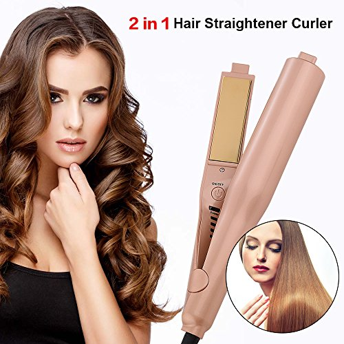 UKLISS PTC Ceramic Titanium-Plated Ionic Flat Iron Hair Straightener and Hair Curler Tool, 2 in 1 Straightening Curling Iron with Dual Voltage Gold
