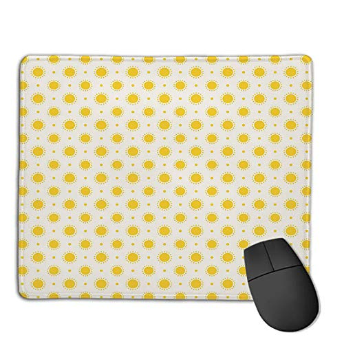 Mouse Pad Bundle Stitched Edges Premium Waterproof Mouse Mat Pad,Geometric,Sun Motif Colorful Polka Dots Summer Themed Heavenly Bodies Celestial Elements,Yellow White,Consoles More Enjoy Precise &