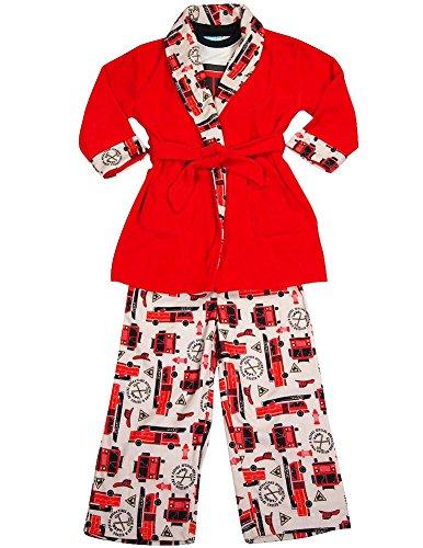 Bunz Kidz - Baby Boys 3 Piece Robe and Pajama Set, Red, Ivory 35535-24Months
