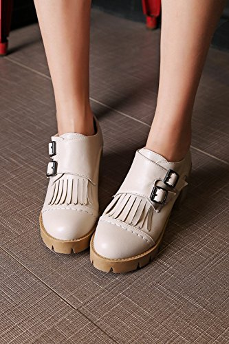 Latasa Mujeres Chunky Heels Tassel Lofers Monk Strap Zapatos Beige