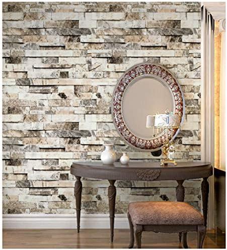 HaokHome 91301 DIY 古典的なレンガの壁紙ベージュ多色石の壁紙 壁用おしゃれ ブリックパターン ストーン 3D 屋内 ベッドルーム装飾 53cm×10m