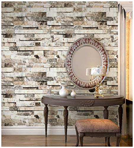 HaokHome 91301 Faux 3d Brick Wallpaper Textured Brick Wallpaper Roll Beige/Grey/Brown 20.8