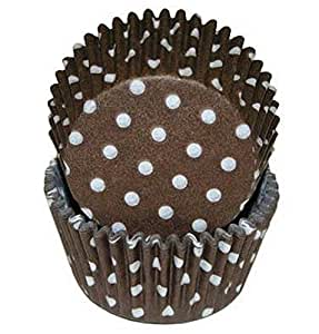 Oasis Supply 50 Count Baking Cups, Standard, Brown Polka Dot