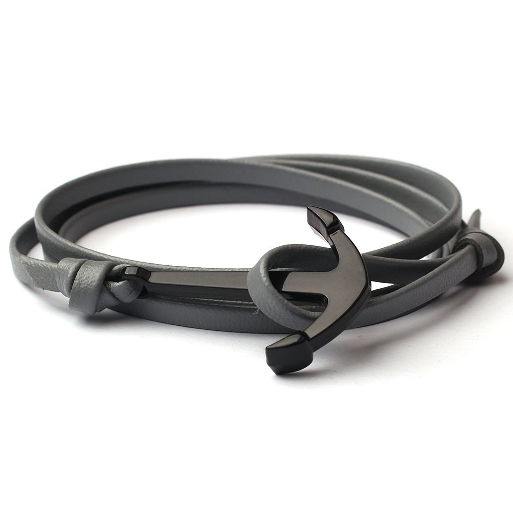 CandyBrowser Happiness Jewelry Unisex PU Leather Wrap Bangle Vikings Sailing Bracelet with Nautical Anchor Alloy Hook Clasp