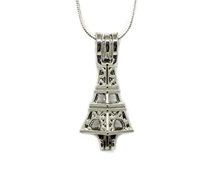 Amazon eiffel tower pearl cage pendant necklace pearl cage eiffel tower pearl cage pendant necklace pearl cage for akoya oysters with pearls inside aloadofball Choice Image