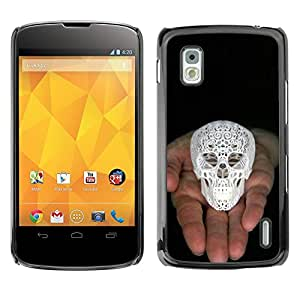 """For LG Nexus 4 E960 Case , Cráneo Impreso 3D White Palm Negro"""" - Diseño Patrón Teléfono Caso Cubierta Case Bumper Duro Protección Case Cover Funda"""