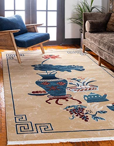 Unique Loom Gansu Collection Antique Finish Chinese Pattern Tan Area Rug 9 0 x 12 0