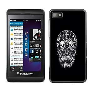 CASENADO Blackberry Z10 // skull white black ink tattoo minimalist // Prima Delgada SLIM Casa Carcasa Funda Case Bandera Cover Armor Shell