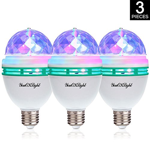 YouOKLight 3-Pack E26 Full Color Rotating Lamp LED Strobe Bulb Multi Crystal Stage Light for Disco Birthday Party Club Bar by YouOKLight