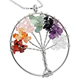 SUNYIK Tumbled Gemstone Tree of Life Pendant