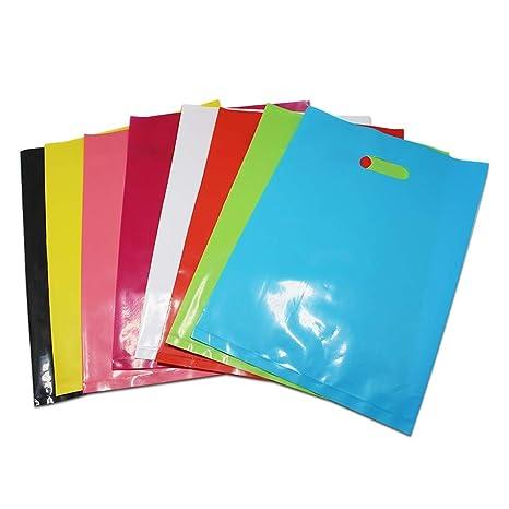 Leijing 50 Bolsas de plástico de Colores con Asas ...