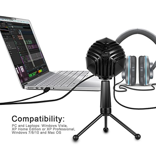 MODAR USB Cardioid Microphone Stand, Studio Broadcasting Recording Condenser Mic Desktop Professional with LED Power Indicatior, Volume Adjuster, Mute Button, USB Port and Headphone Jack by MODAR (Image #6)
