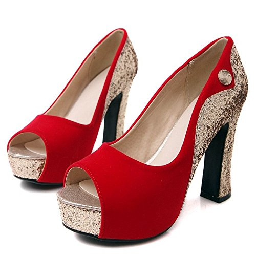 Red Peep Toe Women 7 Heels Shoes TAOFFEN XSwqF