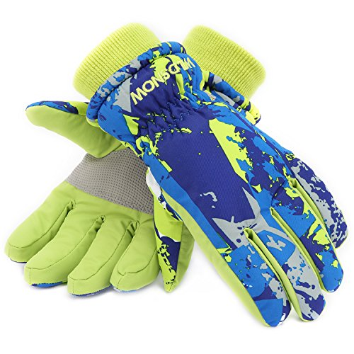 (Ski Gloves,RunRRIn Winter Warmest Waterproof and Breathable Snow Gloves for Mens,Womens,ladies and Kids Skiing,Snowboarding(Kids-Blue-S))