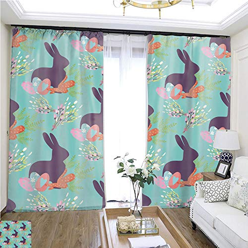Cartoon Curtain Series Easter Seamless Pattern Background Design Vector Holiday Celebration Party Wallpaper Greeting Colorful Egg Fabric Textile illustration1 W96 x L204 Print Curtains Bedroom curt