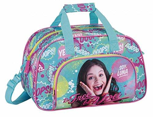 Walt Disney Soy Luna, Sporttasche Reisetasche (S273) für Mädchen, rosa/blau, 40 x 24 x 23 cm