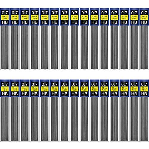 TecUnite 360 Pieces HB Black Lead Refills Mechanical Pencil Refills, 30 Tubes (0.7 mm)