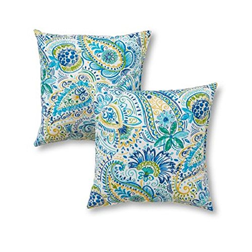 - Greendale Home Fashions Painted Paisley Outdoor Accent Pillow, Baltic Set of 2