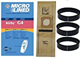 kirby 10 vacuum - NEW 10 Kirby Micron Bags for G3 G4 G5 G6 G7 H2 Ultimate Vacuum + 3 Belts by DVC