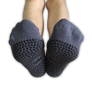 Non Slip Skid Socks with Grips, For Hospital Rehab, Yoga, Pilates, Barre, Traveling, Home Use, Grey (Dot Grips) - Size L/XL, 2 Pairs