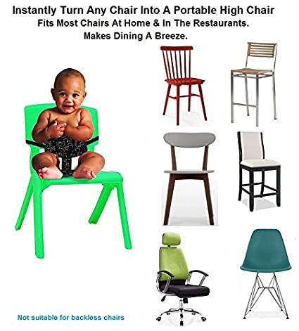 Portable High Chair Black Shopping Cart Safety Strap Smart N Comfy 3-in-1 Travel High Chair Toddler Safety Harness