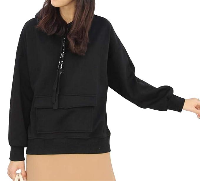 4274340cfc6 MMCP Women s Pockets Loose Faux Fur Lined Plus Size Pullover Hoodies  Sweatshirt Black M