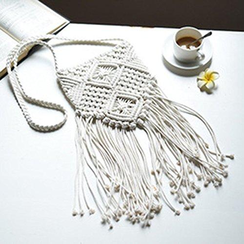 Tinksky Umhänge Tasche Frauen chinesische geflochten Beutel/Quaste gestrickte Tasche national und schön(Beige)