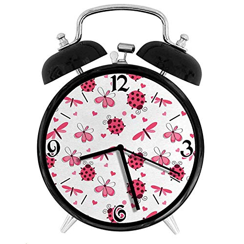Domed Back Round Ladybugs with Hearts Flowers Dragonflies Romantic Wings Pattern, Metal Double Bell Alarm Clock, Family Bedroom Travel School Battery Operation Light (Black) 3.8in10.2cm