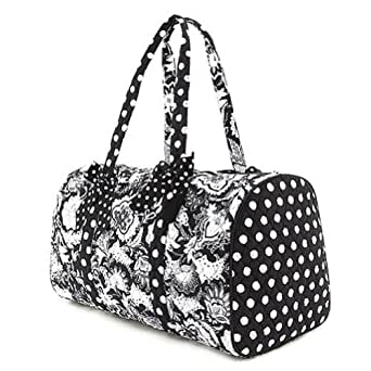 "Belvah Quilted Floral Large 21"" Duffle Bag (Black/ White)"
