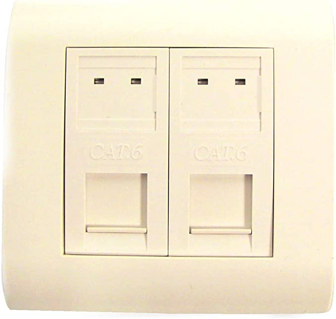 Cablematic - Caja de pared o canaleta de 80x80 con 2 RJ45 FTP Cat.6 568B: Amazon.es: Informática