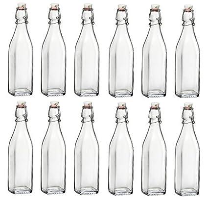 Bormioli Rocco - Lote de botellas de cristal con tapón mecánico (12 unidades, 0