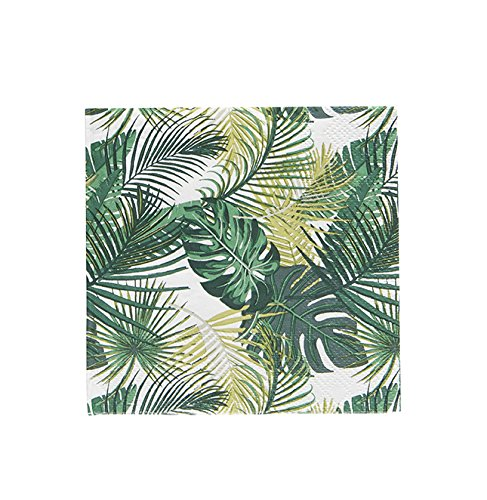 (Pack of 20 Palm Leaf Cocktail Size Paper Napkin Green 5
