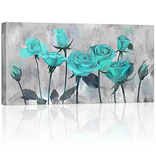 Visual Art Decor Flowers Painting Prints Antique Blooming Teal Rose on Grey Picture Printed on Canvas Wrap Floral Art Decal for Home Living Room Bedroom Wall Decoration (02 Green, 20
