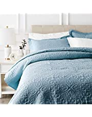 AmazonBasics Oversized Quilt Coverlet Bed Set - Full or Queen, Spa Blue Floral
